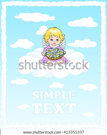 angel sitting on a cloud and