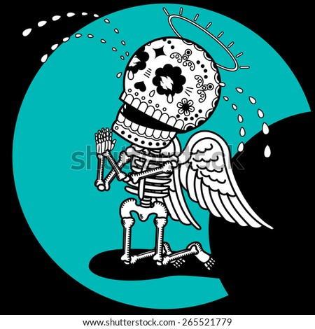 angel skeleton fell to his