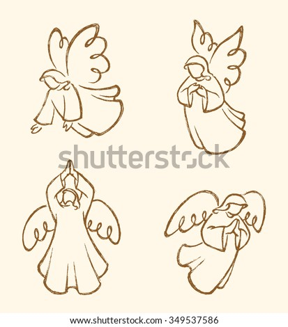 angel sketch set sepia abstract
