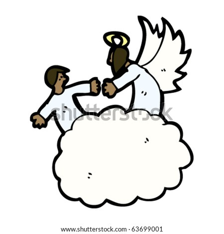 angel welcoming soul to heaven cartoon
