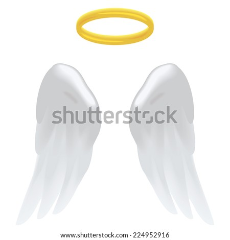 angel wings and a halo isolated