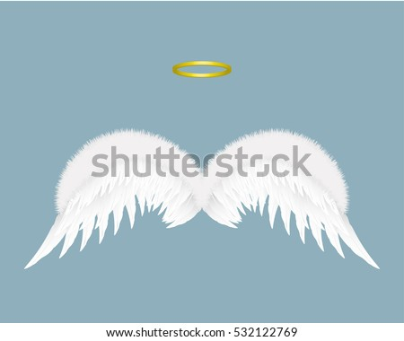 angel wings and halo isolated