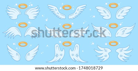 Angel wings. Cartoon angels wing and nimbus, winged angel holy sign, heaven elegant angel wings vector illustration icons set. Angel, wings with holy nimbus, symbol wing isolated