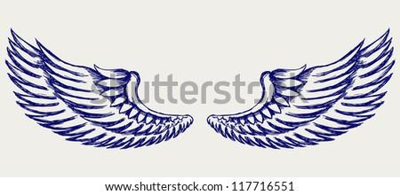 Angel wings. Doodle style