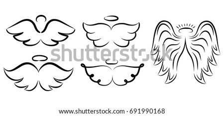 angel wings drawing vector