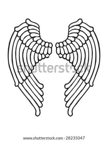 stock vector angel wings female style