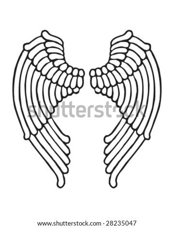 stock vector angel wings female style