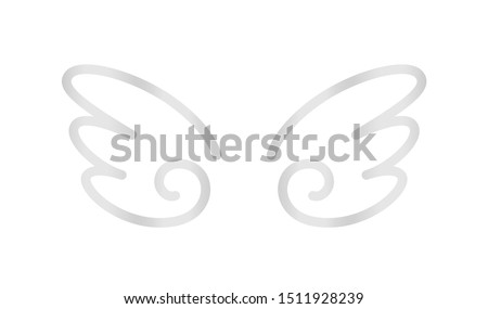 angel wings icon silver isolated on white background, cute cartoon silver wing ornate, clip art angel wings shape for logo, luxury silver angel wings for freedom symbol, illustration wing metal shine