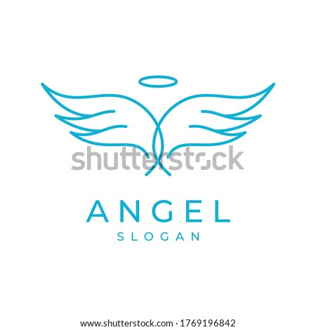 angel wings logo vector modern simple clean designs with young color and white background
