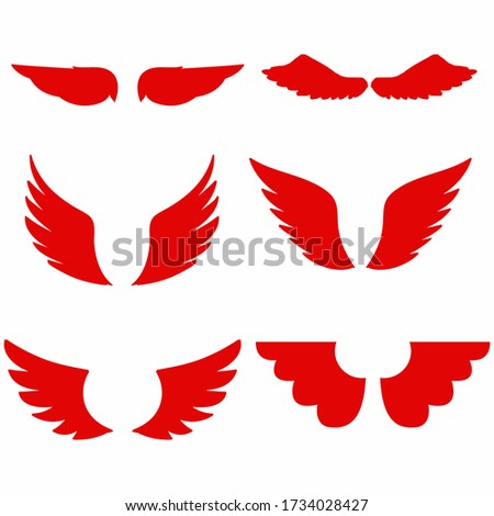 Angel wings vector icon on white background. Wings icon. Wings eps sign. Bird wings vector clip art.