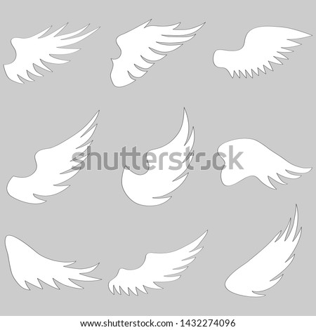 Angel wings, white angel wings isolated on gray. Vector illustration of angel wings.