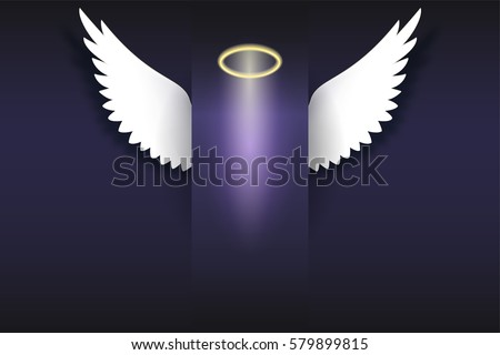angel wings with golden halo