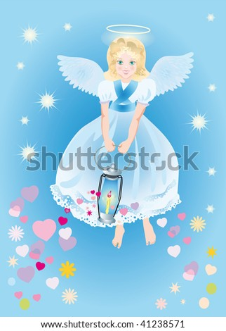 angel with a magic lamp which