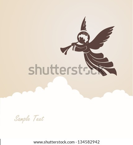 Angel with a pipe in the clouds - stock vector