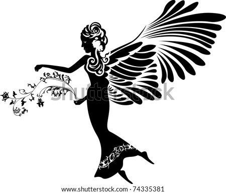 Angel with flower stencil silhouette
