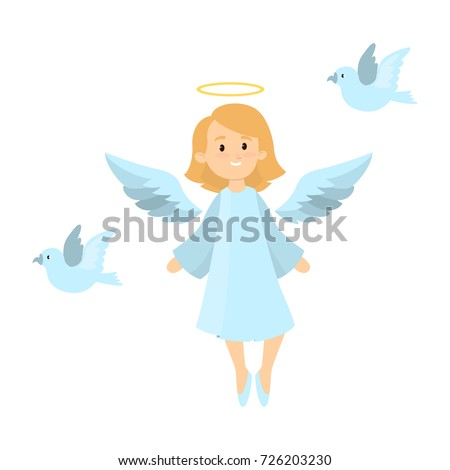 angel with pigeons on white