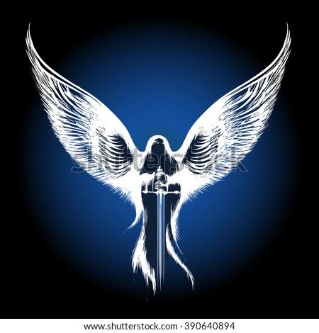 angel with sword against dark