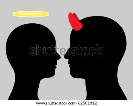 Angel woman and man devil head silhouette in love