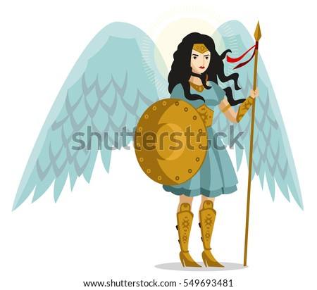 angel woman warrior with shield