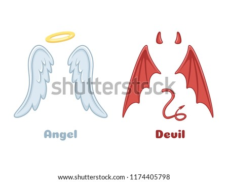 Angels and demons wings. Cartoon evil demon horns and good angel wing with angelic nimbus. Devil bad evil and saint angel mischief heaven goods characters vector isolated icon illustration set