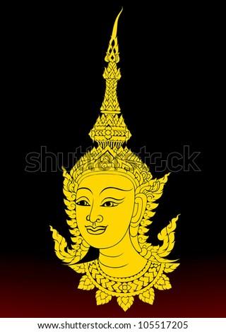 Angels in Buddhist art.Thai art pattern