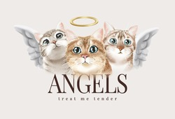 angels slogan with cute cat angels vector illustratioin
