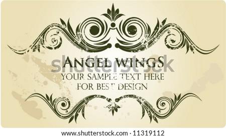 Angels wings. Vintage frame.