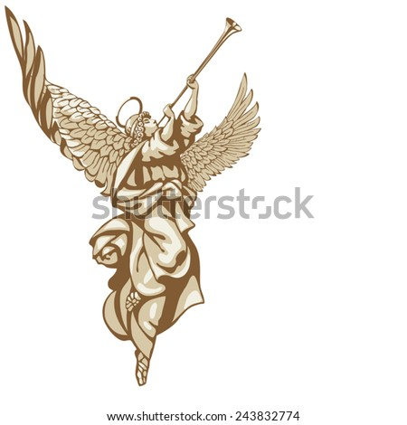 angels with trumpets  looking