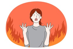 Anger, evil, furious woman concept. Young angry furious female cartoon character standing with fingers out and expressing rage and anger over burning fire at background vector illustration