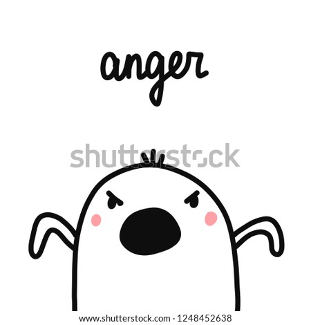 Anger hand drawn illustration with angry marshmallow for prints posters psychology articles psychotherapy seven sins of humanity project
