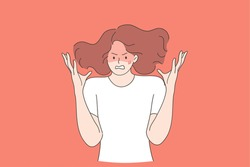 Anger, rage, screaming concept. Young mad crazy teen girl cartoon character gesturing with hands and shouting with anger and negative emotions vector illustration