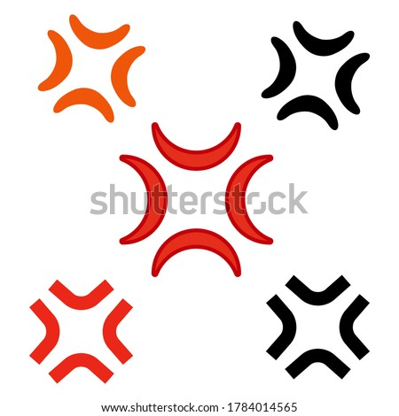Anger symbol vector icon isolated on white background.