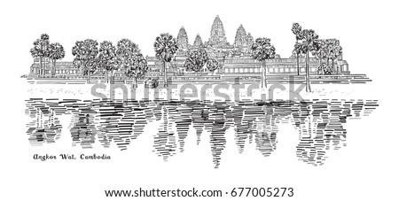 angkor wat  cambodia sketch...