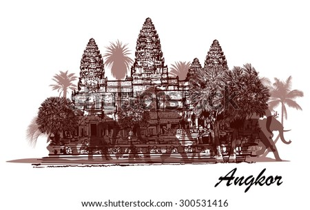 angkor wat with elephants and