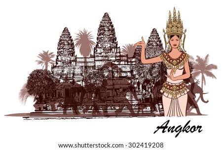 angkor wat with elephants  palm