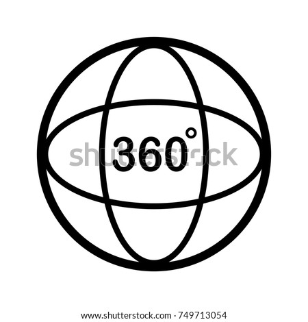 Angle 360 degree icon. Outline design. Vector Illustration