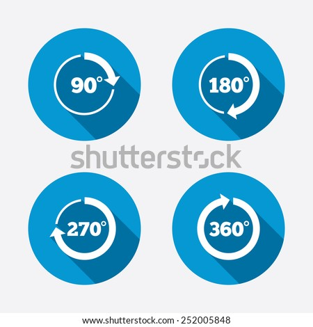Angle 45-360 degrees circle icons. Geometry math signs symbols. Full complete rotation arrow. Circle concept web buttons. Vector