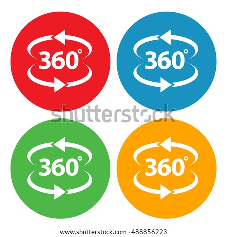 Angle 360 Degrees Panorama View Vector Icon. Both Ways Double Arrows Rotation Round Symbol. Red, blue, green, yellow colors.