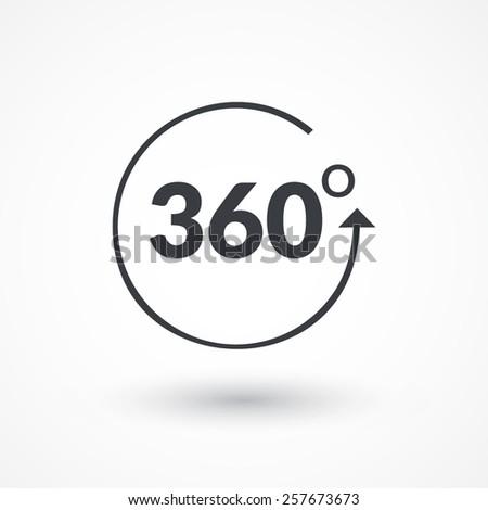 Angle 360 degrees sign icon. Geometry math symbol. Full rotation.