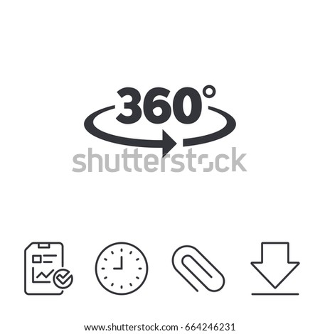 Angle 360 degrees sign icon. Geometry math symbol. Full rotation. Report, Time and Download line signs. Paper Clip linear icon. Vector