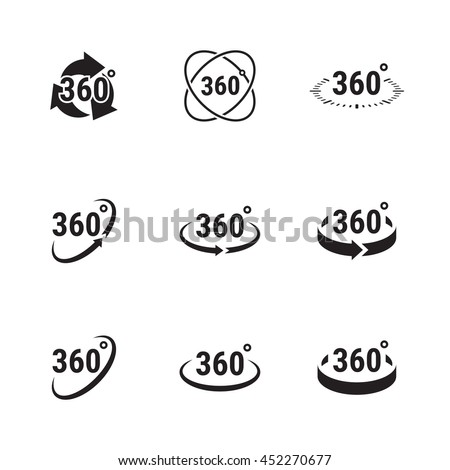 Angle 360 degrees sign icons