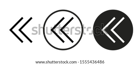 angle double left icon set. Collection of high quality black outline logo for web site design and mobile dark mode apps. Vector illustration on a white background