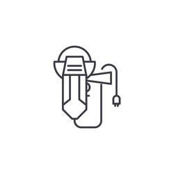 Angle-drive grinder linear icon concept. Angle-drive grinder line vector sign, symbol, illustration.