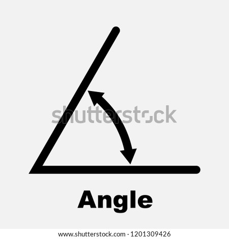 Angle icon, isolated icon with angle symbol and text, vector illustration.