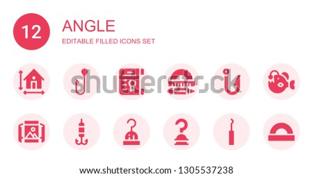 angle icon set. Collection of 12 filled angle icons included Dimension, Hook, Degree, Protractor, Panoramic view, Angler