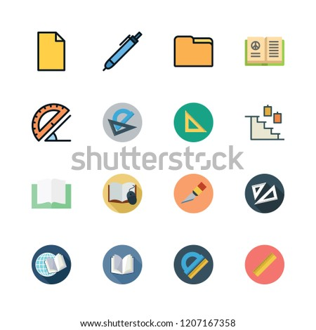 angle icon set. vector set about set square, cutter, stairs and ruler icons set.