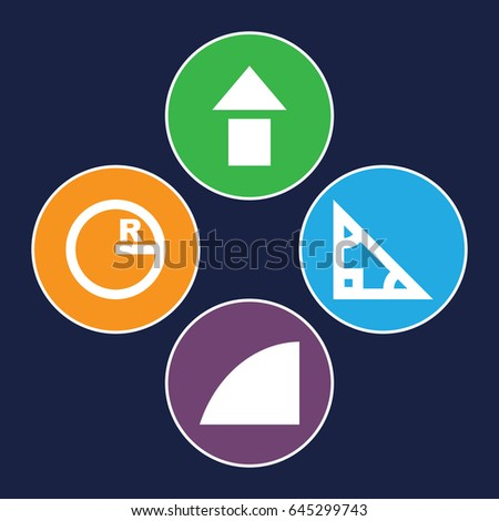 Angle icons set. set of 4 angle filled icons such as angle, triangle, circle