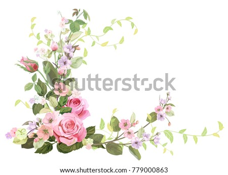 angled frame with roses  spring