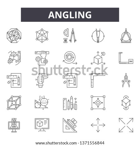 Angling line icons, signs set, vector. Angling outline concept, illustration: angle,measure,rotation,pictogram,rotate