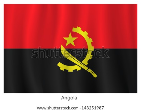 Angola vector flag with title